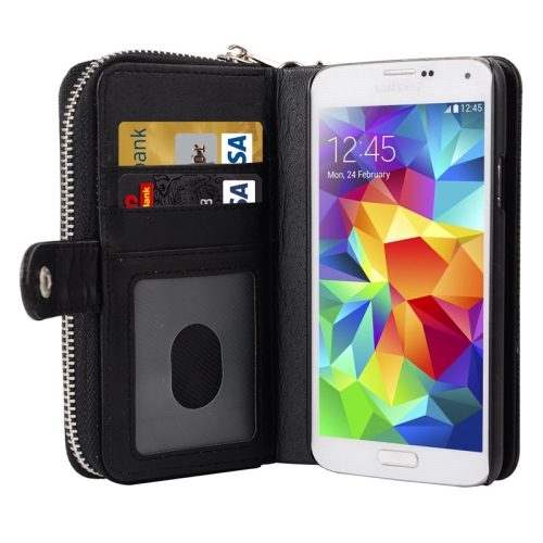 Multifunctional Litchi Texture Separable Leather Wallet Case for Samsung Galaxy S5 with Lanyard