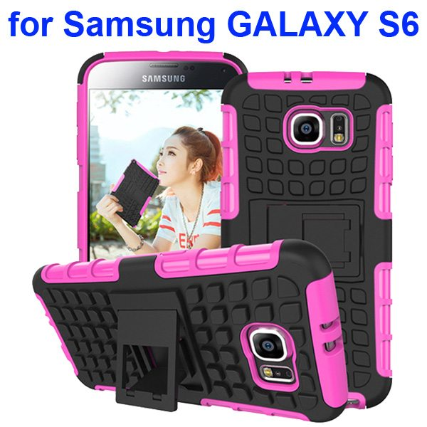 2 in 1 Snap-On Grid Pattern TPU and Hard Shockproof Case for Samsung GALAXY S6 with Kickstand (Pink)