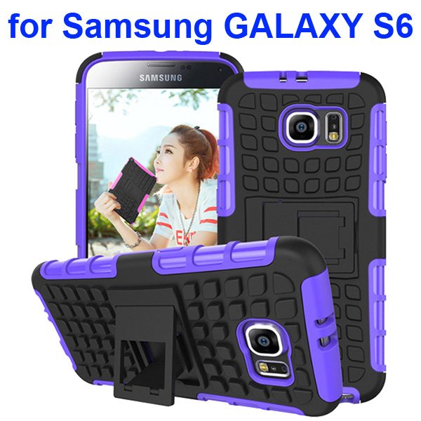 2 in 1 Snap-On Grid Pattern TPU and Hard Shockproof Case for Samsung GALAXY S6 with Kickstand (Purple)