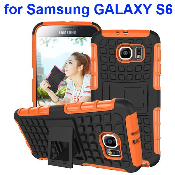 2 in 1 Snap-On Grid Pattern TPU and Hard Shockproof Case for Samsung GALAXY S6 with Kickstand (Orange)