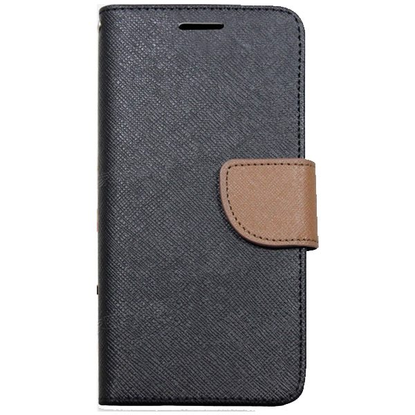 Mercury Mix Color Magnetic Wallet Case for Samsung Galaxy S6 with Card Slots (Black+Brown)