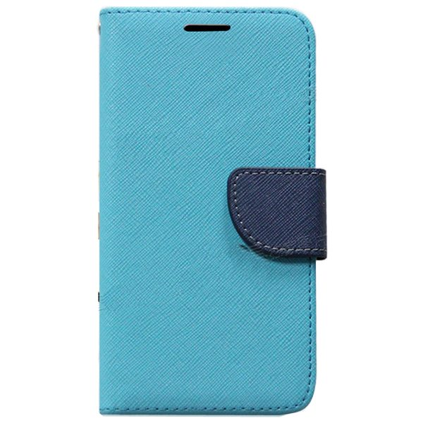 Mercury Mix Color Magnetic Wallet Case for Samsung Galaxy S6 with Card Slots (Blue+Black)