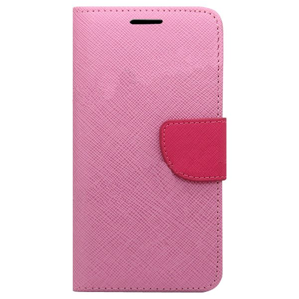 Mercury Mix Color Magnetic Wallet Case for Samsung Galaxy S6 with Card Slots (Pink+Red)