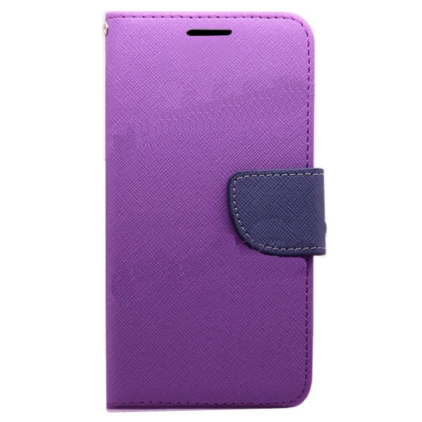 Mercury Mix Color Magnetic Wallet Case for Samsung Galaxy S6 with Card Slots (Purple+Blue)