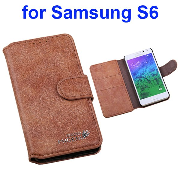 Retro Magnetic Frosted Flip Wallet PU Leather Case for Samsung Galaxy S6 G9200 (Brown)