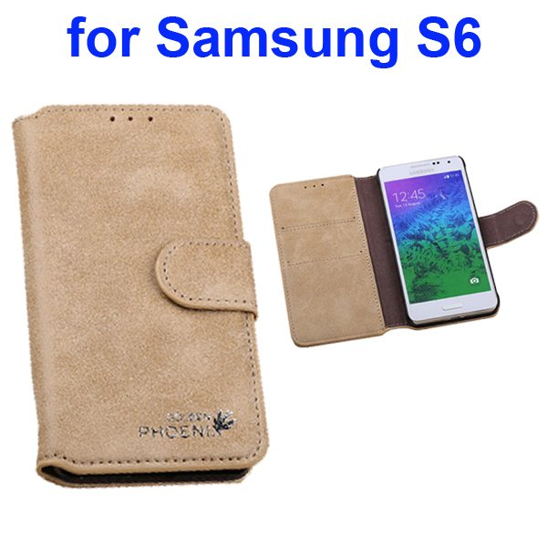 Retro Magnetic Frosted Flip Wallet PU Leather Case for Samsung Galaxy S6 G9200 (Beige)