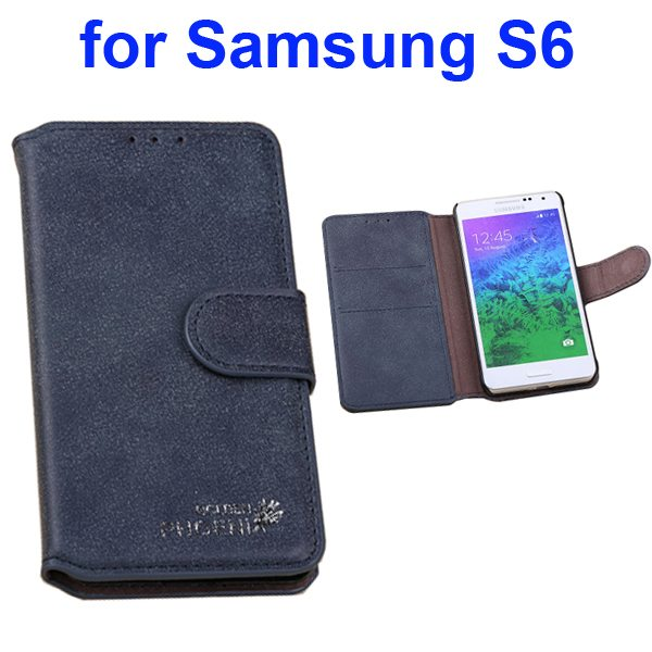 Retro Magnetic Frosted Flip Wallet PU Leather Case for Samsung Galaxy S6 G9200 (Dark Blue)
