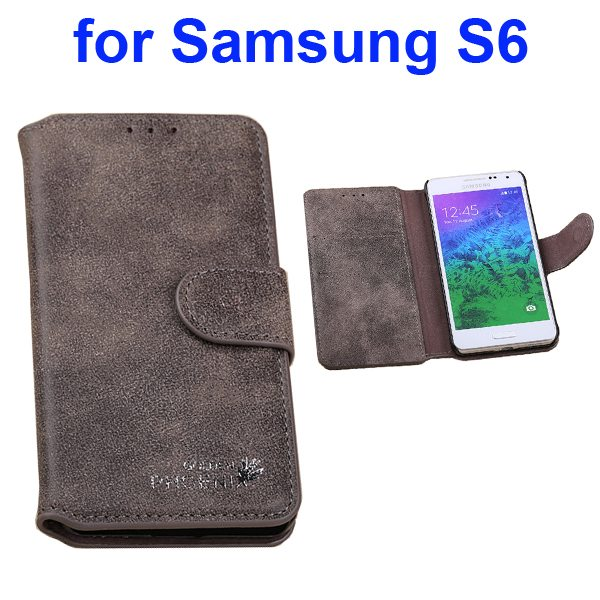 Retro Magnetic Frosted Flip Wallet PU Leather Case for Samsung Galaxy S6 G9200 (Coffee)