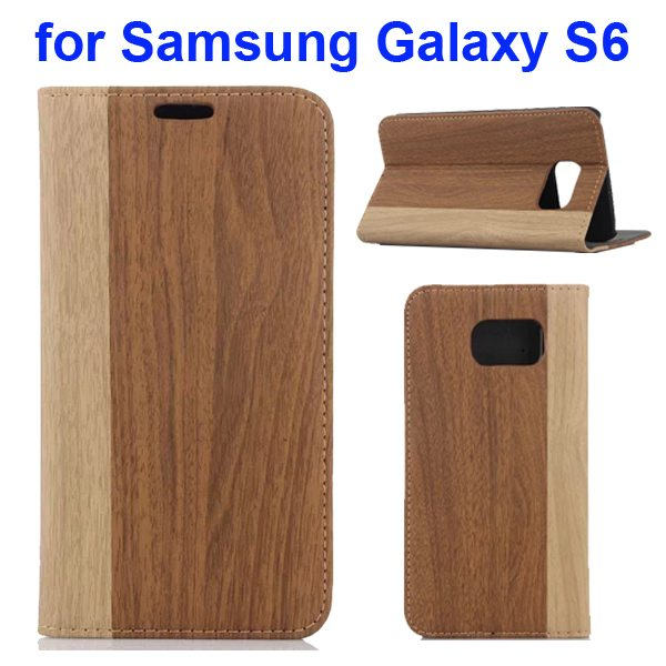 Wood Texture Design Mix Color Flip Leather Cover for Samsung Galaxy S6 with Card Slot (Beige + Brown)