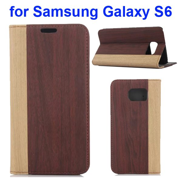 Wood Texture Design Mix Color Flip Leather Cover for Samsung Galaxy S6 with Card Slot (Beige + Grey)