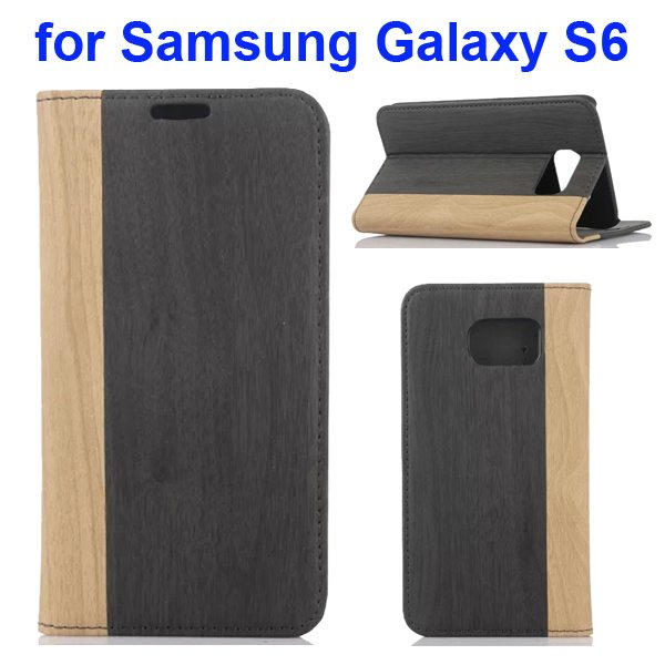 Wood Texture Design Mix Color Flip Leather Cover for Samsung Galaxy S6 with Card Slot (Beige + Green)
