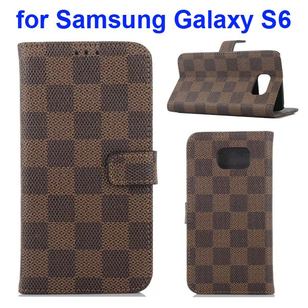 Grid Pattern Flip Wallet Leather Cover for Samsung Galaxy S6 with Card Slots (Brown)
