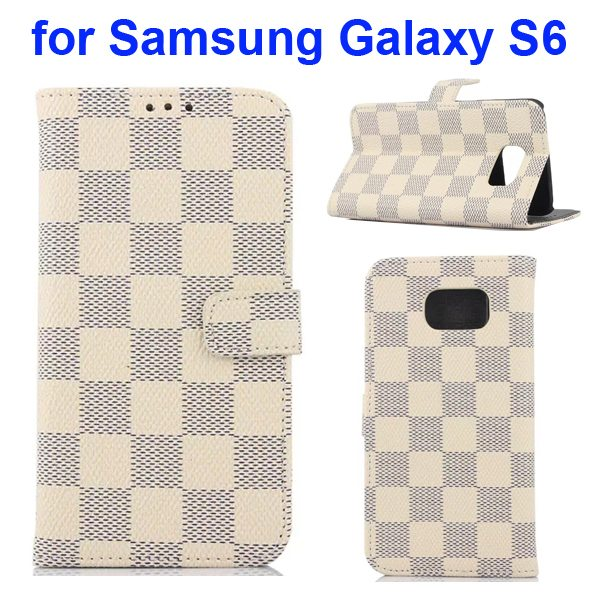 Grid Pattern Flip Wallet Leather Cover for Samsung Galaxy S6 with Card Slots (Beige)