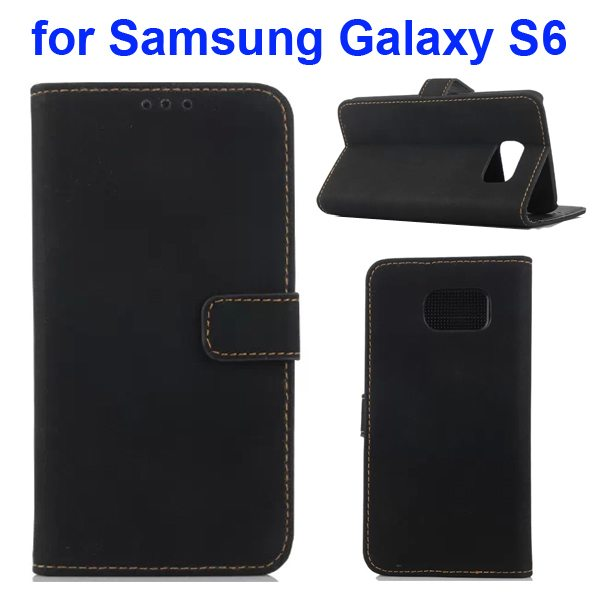 Retro Pattern Frosted Magnetic Wallet Cover for Samsung Galaxy S6 with Stand (Black)