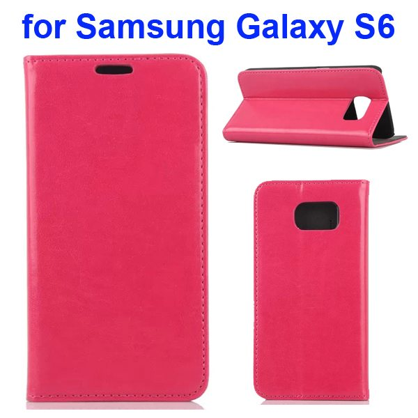 Crazy Horse Texture Flip Leather Cover for Samsung Galaxy S6 with Stand (Magenta)