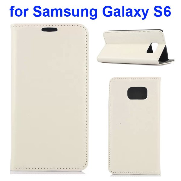 Crazy Horse Texture Flip Leather Cover for Samsung Galaxy S6 with Stand (White)