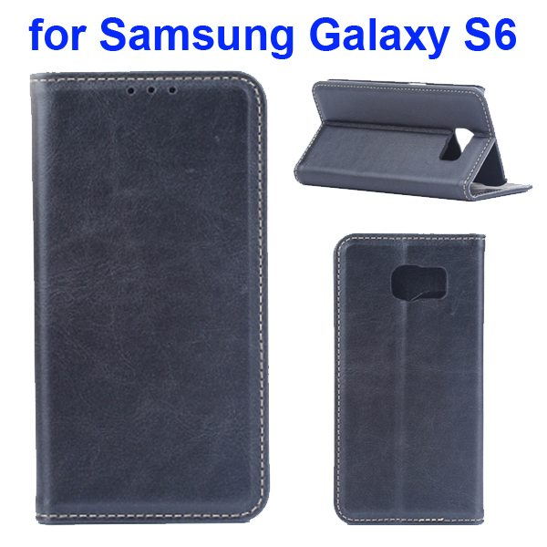 Crazy Horse Texture Protective Leather Case for Samsung GALAXY S6 with Card Slots (Black)