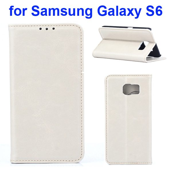 Crazy Horse Texture Protective Leather Case for Samsung GALAXY S6 with Card Slots (White)
