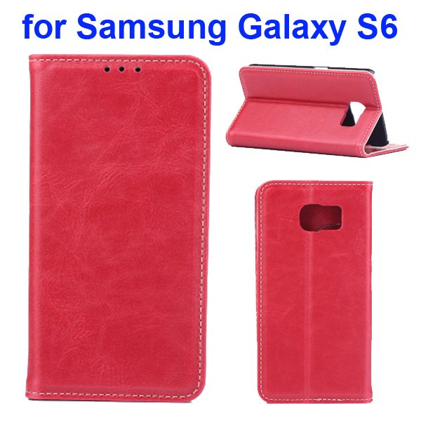 Crazy Horse Texture Protective Leather Case for Samsung GALAXY S6 with Card Slots (Red)