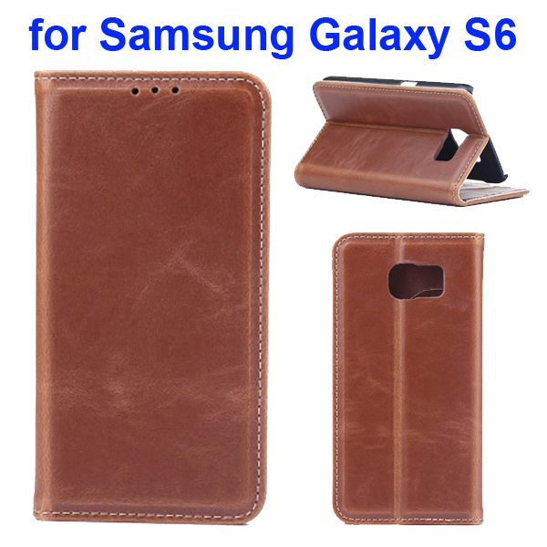 Crazy Horse Texture Protective Leather Case for Samsung GALAXY S6 with Card Slots (Grey)