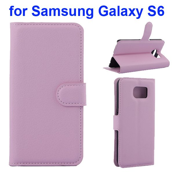 Litchi Pattern Magnetic Wallet Flip Cover for Samsung Galaxy S6 with Stand (Pink)