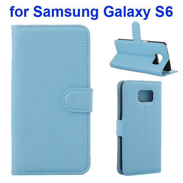 Litchi Pattern Magnetic Wallet Flip Cover for Samsung Galaxy S6 with Stand (Blue)