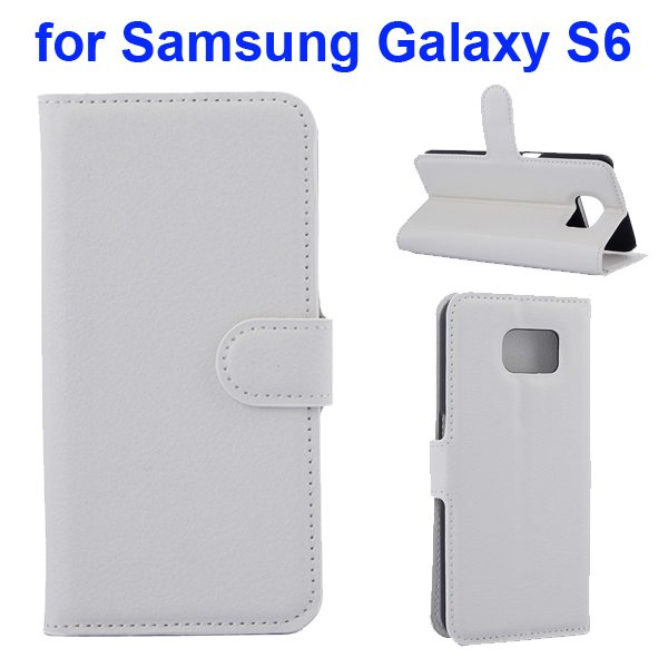 Litchi Pattern Magnetic Wallet Flip Cover for Samsung Galaxy S6 with Stand (White)