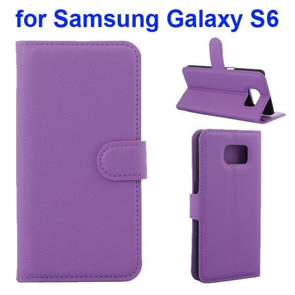 Litchi Pattern Magnetic Wallet Flip Cover for Samsung Galaxy S6 with Stand (Purple)