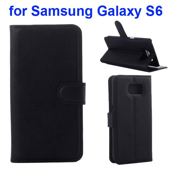 Litchi Pattern Magnetic Wallet Flip Cover for Samsung Galaxy S6 with Stand (Black)