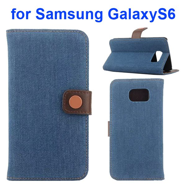 Denim Pattern Magnetic Wallet Flip Phone Case Cover for Samsung Galaxy S6 with Stand (Blue)
