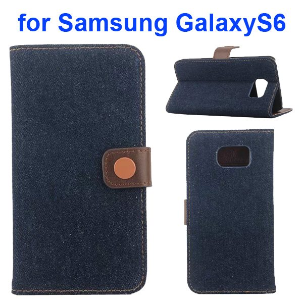 Denim Pattern Magnetic Wallet Flip Phone Case Cover for Samsung Galaxy S6 with Stand (Black)