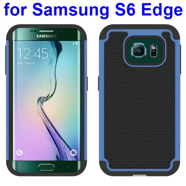 Football Texture Antiskid Silicone and PC Rugged Hybrid Protective Case for Samsung Galaxy S6 Edge (Blue)