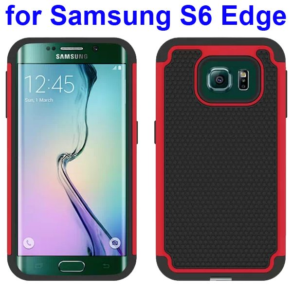 Football Texture Antiskid Silicone and PC Rugged Hybrid Protective Case for Samsung Galaxy S6 Edge (Red)