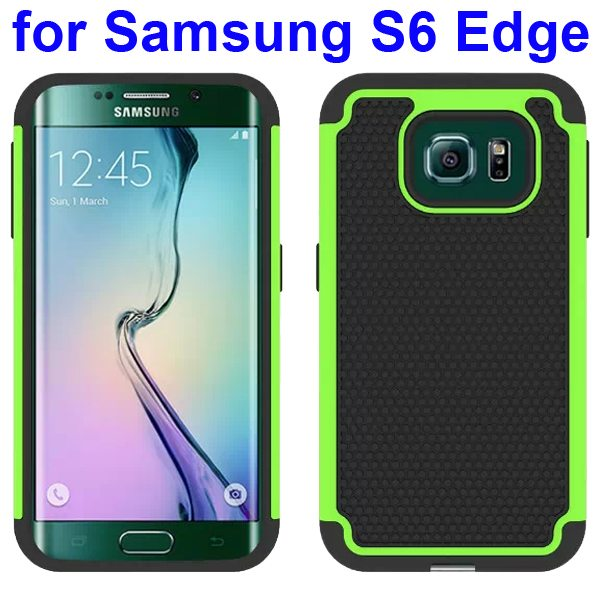 Football Texture Antiskid Silicone and PC Rugged Hybrid Protective Case for Samsung Galaxy S6 Edge (Green)