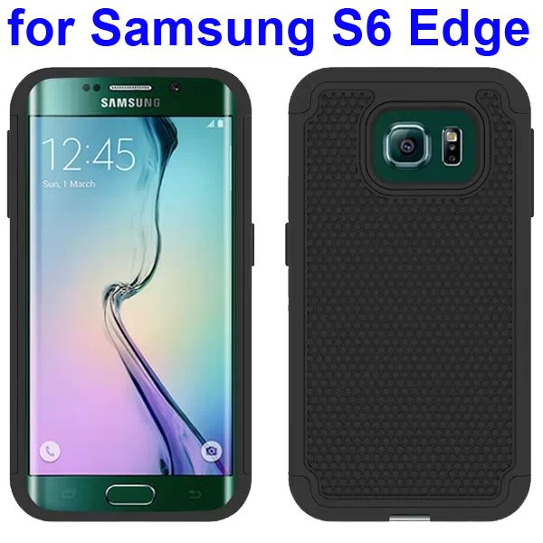 Football Texture Antiskid Silicone and PC Rugged Hybrid Protective Case for Samsung Galaxy S6 Edge (Black)