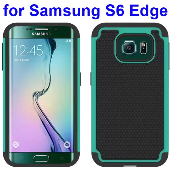 Football Texture Antiskid Silicone and PC Rugged Hybrid Protective Case for Samsung Galaxy S6 Edge (Mint)