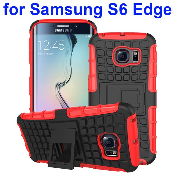 Kickstand Shockproof Hybrid Rugged Case Cover for Samsung Galaxy S6 Edge with Belt Clip (Red)