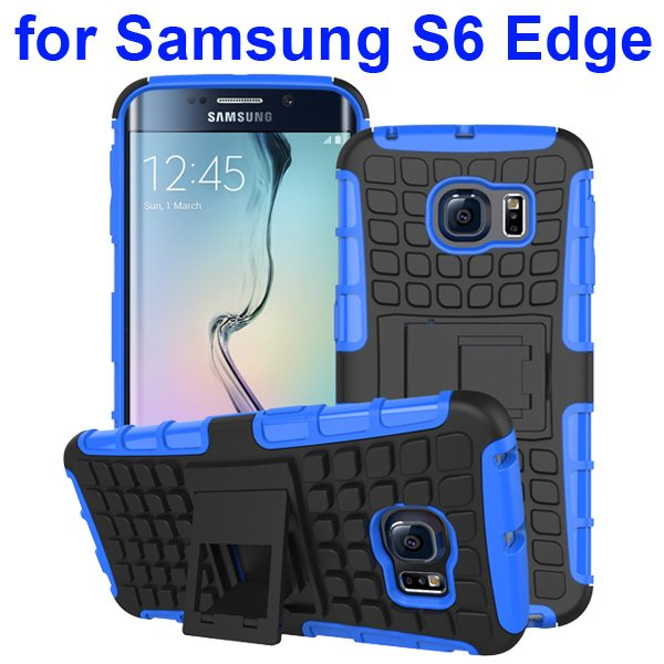 Kickstand Shockproof Hybrid Rugged Case Cover for Samsung Galaxy S6 Edge with Belt Clip (Blue)
