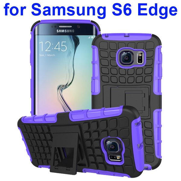 Kickstand Shockproof Hybrid Rugged Case Cover for Samsung Galaxy S6 Edge with Belt Clip (Purple)