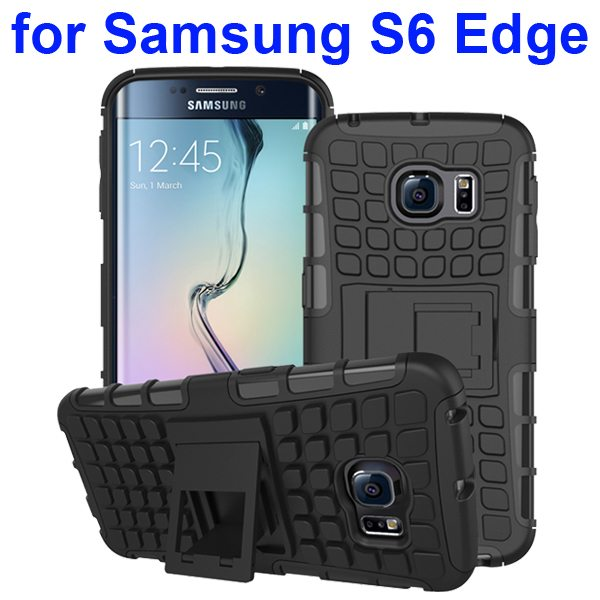 Kickstand Shockproof Hybrid Rugged Case Cover for Samsung Galaxy S6 Edge with Belt Clip (Black)