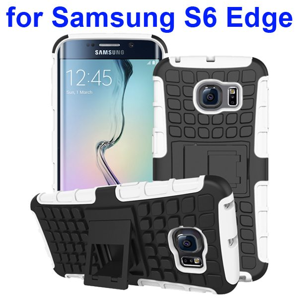 Kickstand Shockproof Hybrid Rugged Case Cover for Samsung Galaxy S6 Edge with Belt Clip (White)