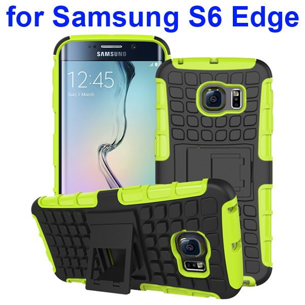 Kickstand Shockproof Hybrid Rugged Case Cover for Samsung Galaxy S6 Edge with Belt Clip (Green)