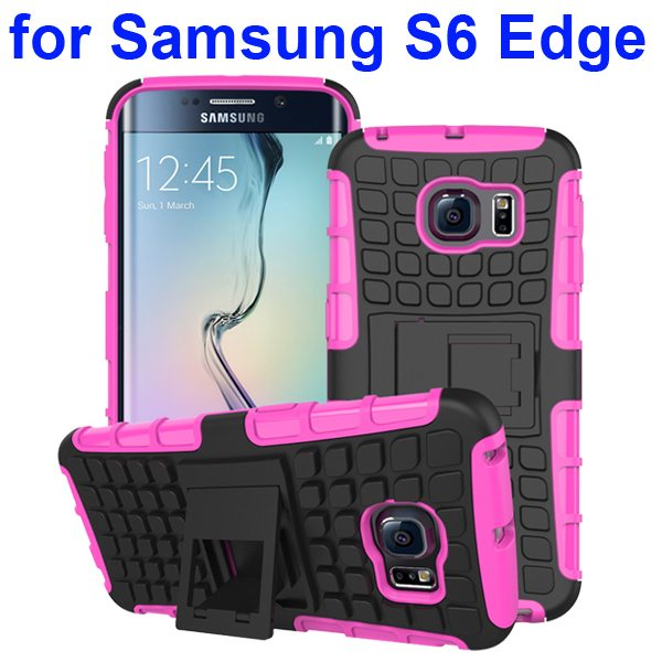 Kickstand Shockproof Hybrid Rugged Case Cover for Samsung Galaxy S6 Edge with Belt Clip (Rose)