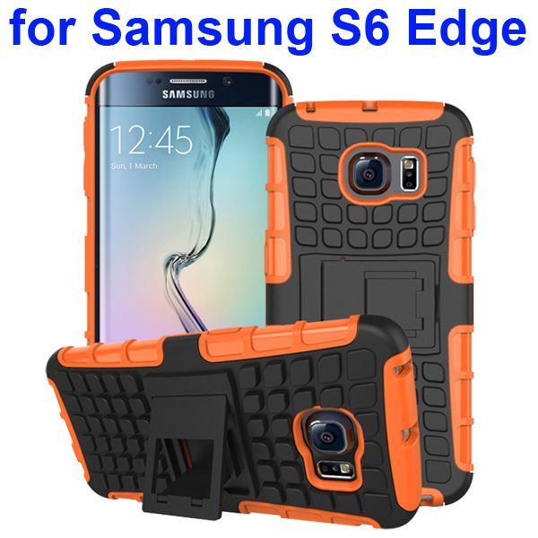 Kickstand Shockproof Hybrid Rugged Case Cover for Samsung Galaxy S6 Edge with Belt Clip (Orange)