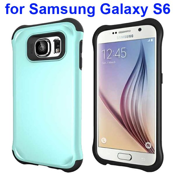 2 in 1 Soft TPU and Hard Shockproof Hybrid Case Cover for Samsung Galaxy S6 (Cyan)