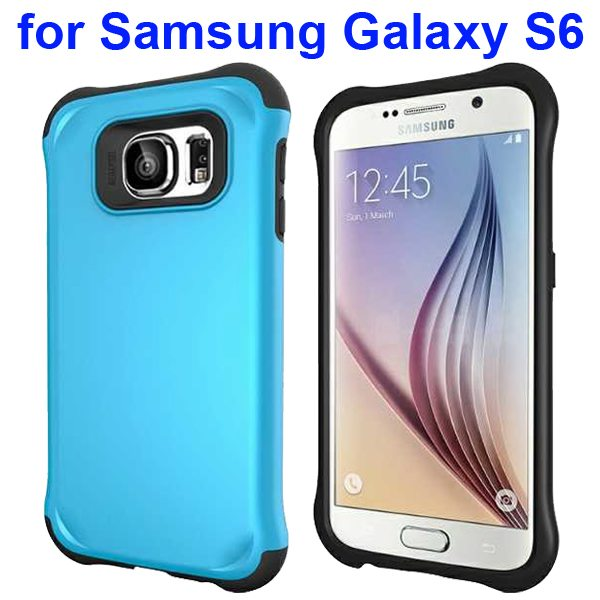 2 in 1 Soft TPU and Hard Shockproof Hybrid Case Cover for Samsung Galaxy S6 (Blue)