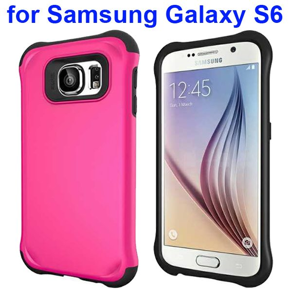 2 in 1 Soft TPU and Hard Shockproof Hybrid Case Cover for Samsung Galaxy S6 (Rose)