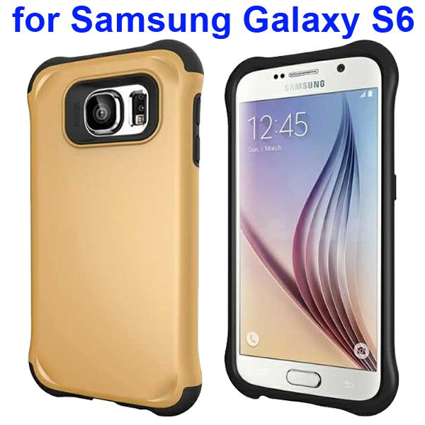 2 in 1 Soft TPU and Hard Shockproof Hybrid Case Cover for Samsung Galaxy S6 (Gold)