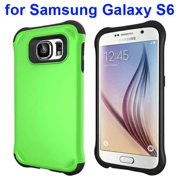 2 in 1 Soft TPU and Hard Shockproof Hybrid Case Cover for Samsung Galaxy S6 (Green)