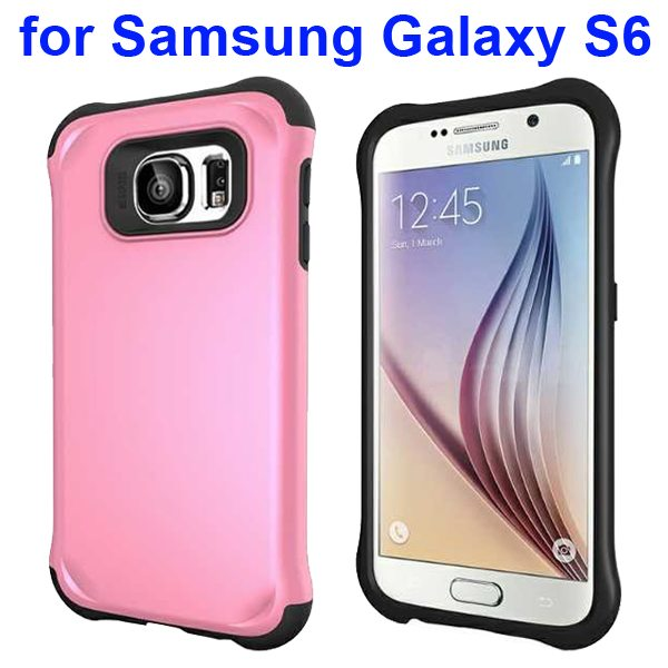 2 in 1 Soft TPU and Hard Shockproof Hybrid Case Cover for Samsung Galaxy S6 (Pink)